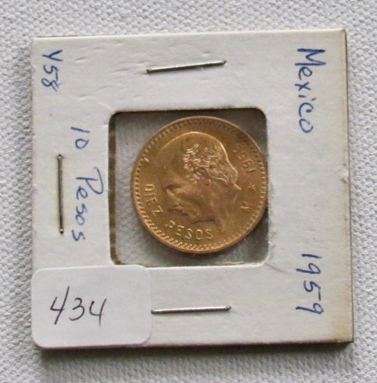 1959 Gold 10 Peso Mexican Gold