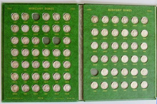 Lot of 136 Mercury and Roosevelt Dimes in Whitman Folder