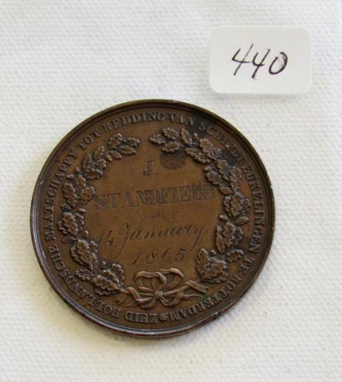 1865 Bronze medal awarded to J Standfield on January 14 ,1865 for rescuing crew of the Askalon