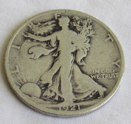 59 Assorted Liberty Standing Half Dollars in Whitman Folders 1916-1947 Including 1921D