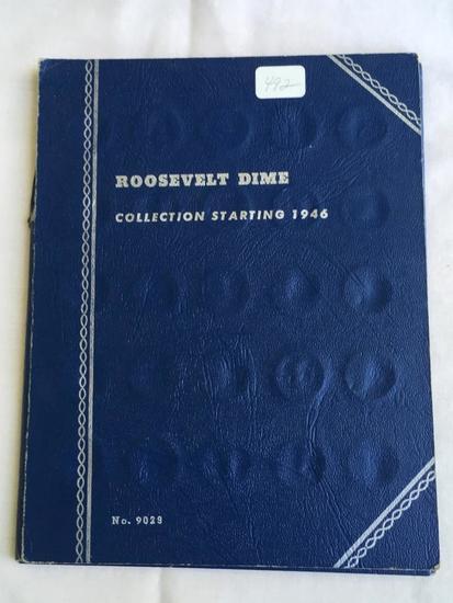 Partial Whitman Roosevelt Dime Folder starting 1946 (over 50 coins in folder)