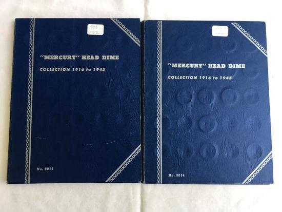 Lot of 2 partial Whitman Mercury Head Dime folders 1916-1945 (60+ coins in folders)