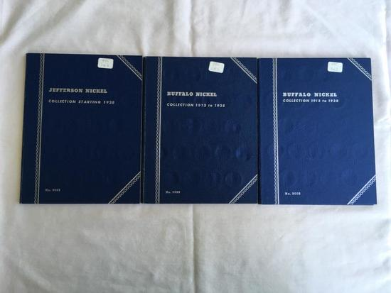Lot of 3 Whitman Jefferson and Buffalo Nickel Coin folders (incomplete) (90+ coins included)