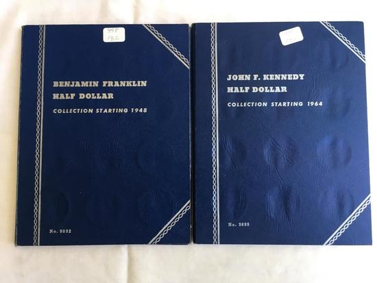 Partial filled Whitman Coin folders Franklin & Kennedy Silver Half Dollars (29 coins included)