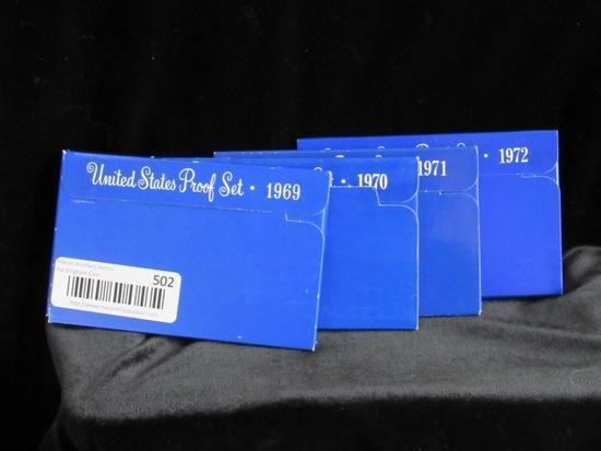 United States Proof Set 1969, 1970, 1971, 1972