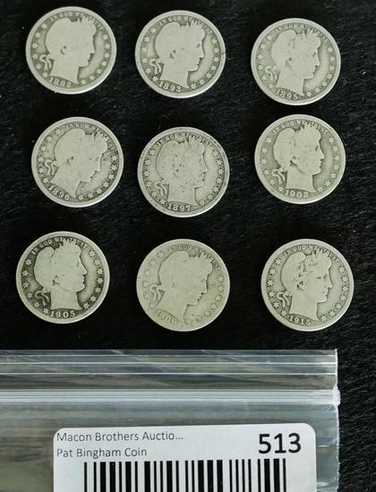 Lot of 9 BARBER Quarters