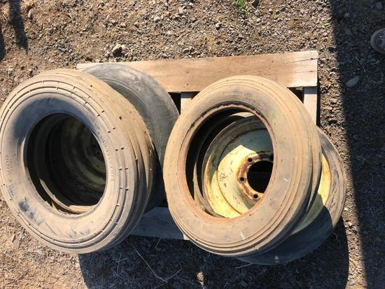 (2) Tractor Tires & (2) Tractor Tires w/ Rims