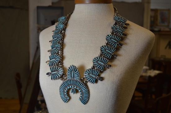 M.P. PEYNESTA Sterling Silver & Turquoise Squash Blossom Style Necklace w/ Matching Earrings