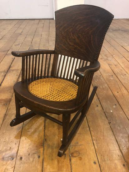 Child's High-Back & Spindle Wicker Seat Rocking Chair