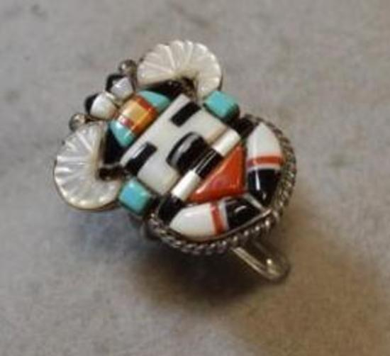 R.C. Sr. Zuni Sterling Silver Kachina Style Ring