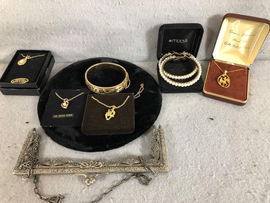 Lot of Costume Jewelry (4) Necklace w/Pendants (1) Bracelet, ((1) Set of Pierced Pearl Earrings (1)