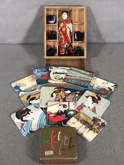 Japanese Geisha Doll and Coasters