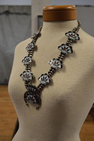 WM.ZUNIE Sterling Silver Zuni & Squash Blossom Necklace