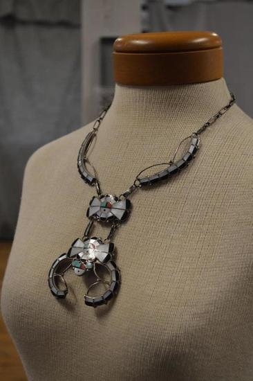 Juan & Charlene Chico Zuni N.M Sterling Silver Zuni & Squash Blossom Style Necklace