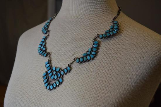 Sterling Silver w/ Inset Turquoise Necklace