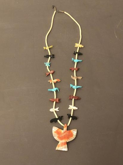 Southwestern Necklace w/ Carved Animals & Large Bird Pendandt
