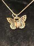 Sterling Silver Necklace w/Gold Filigree Butterfly