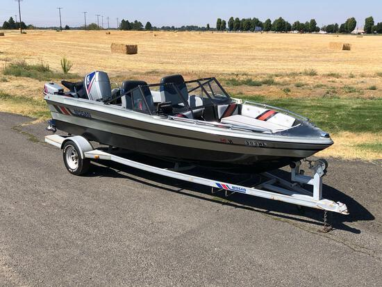 1989 16' Nissan Fiberglass Boat and Trailer