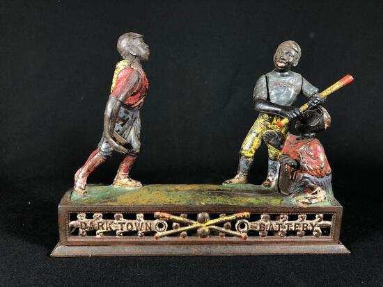 """Dark Town Battery"" Mechanical Cast Iron Coin Bank. J & E. Stevens Company (American (Connecticut)"