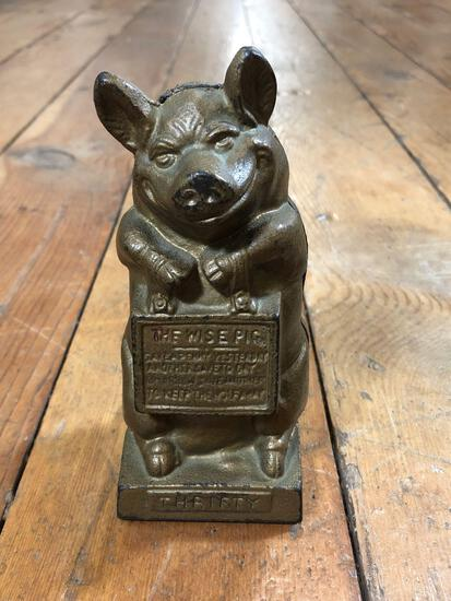 """Vintage """"Thrifty"""" the Wise Pig Cast Iron Piggy Bank"""