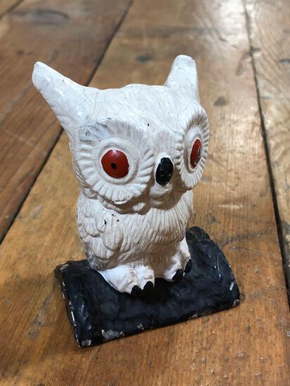 Vintage Cast Iron Owl Bank