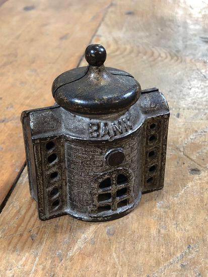 Vintage Cast Iron Bank Building