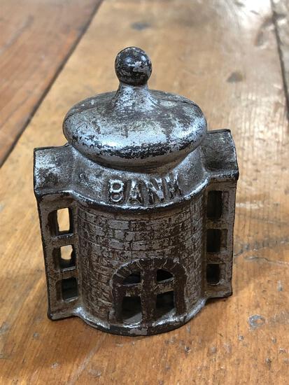 "Vintage Cast Iron ""Bank Building "" Bank"