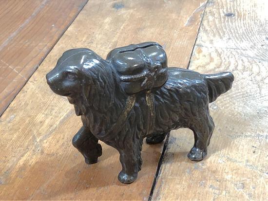 Vintage St. Bernard Dog Cast Iron Bank w/ Back Pack