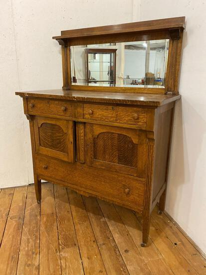 Arts & Crafts Style Oak Buffet w/ Beveled Glass Mirror Back & Locking Drawers