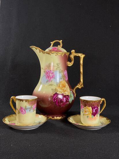 (T&V)Tressemanes & Vogt Limoges France Chocolate Pot w/ (2) Cups and Saucers Hand Painted
