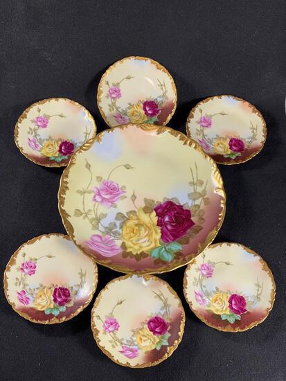 Signed (T&V) Tressemanes & Vogt Limoges France Cake Plate w/ (6) Dessert Plates