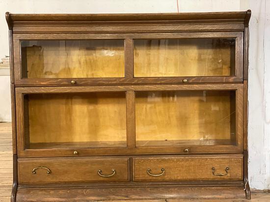 2-Pc Gunn Furniture Co. GRM Barrister Bookcase w/ Top & 2-Drawer Bottom, Lead Glass Doors & Oak Case