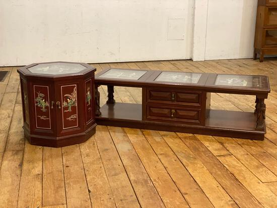 Asian Themed Coffee Table & Matching Endtable w/ Carved In Relief & Glass Tops