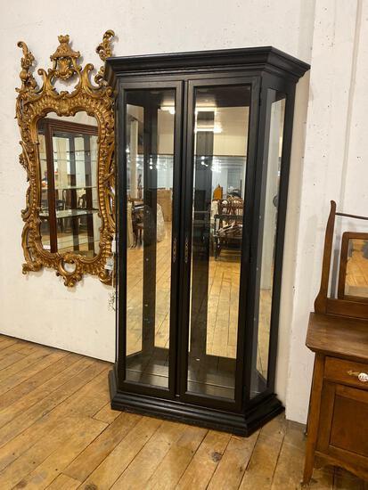 Illuminated Mirror Back Glass Shelf Curio Cabinet