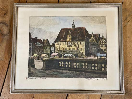 """W. Romberg(1898 - 1973 German) """"The Colonial Portofino"""" Signed Colored Etching"""