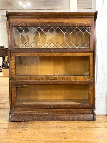 3-Pc Stacking Oak Barrister Bookcase w/ 1 Leaded Glass Panel, Base & Top
