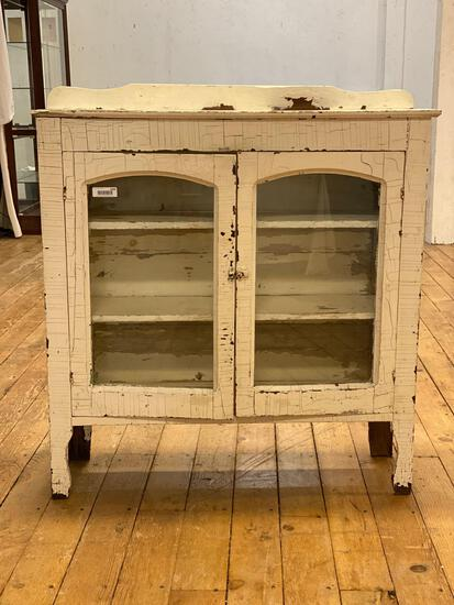 Antique Country Cabinet w/ Glass Doors, Fur w/ Original Paint