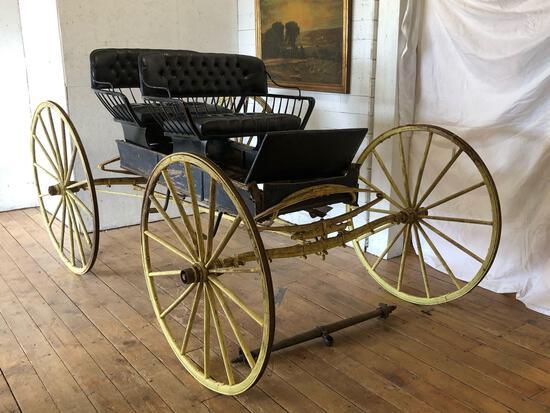 2-Seat Vintage Open Wagon, restoration in progress, newly upholstered seats