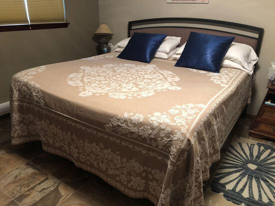 Tempurpedic King Size Bed, Boxspring, Frame w/ Cushioned Headboard Etc.
