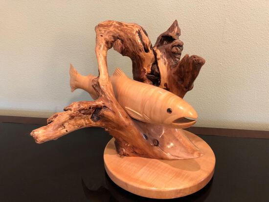 Glenn Duncan 07/04/06 Hand Carved Sculpture Of Salmon, Signed On Bottom
