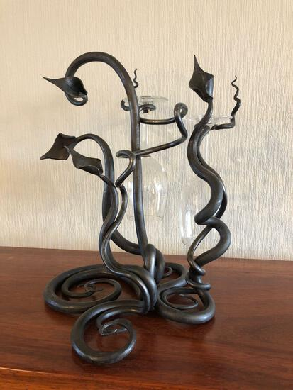 "Douglas Gisi Metal Sculpture ""Leaves/Scroll Winerack"