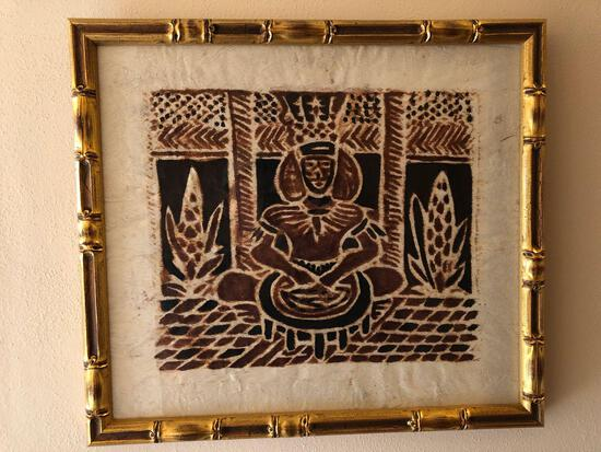 "Framed Tappa Cloth Depicting Samoan 14"" x 16-1/2"""