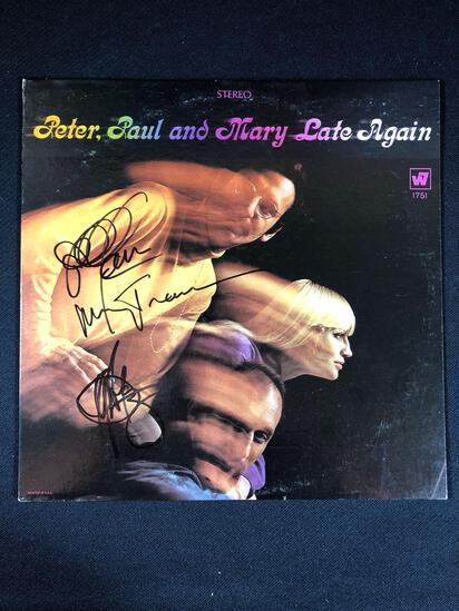 "Peter, Paul, & Mary ""Late Again"" Autographed Album"
