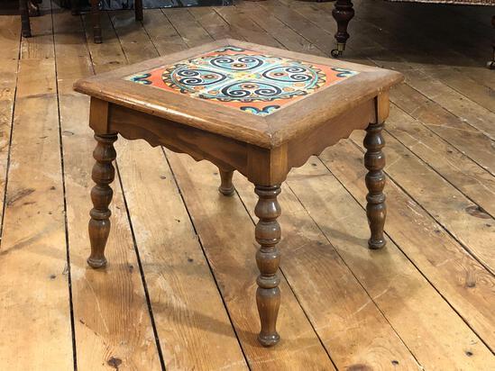 "1920s Tudor Los Angeles Spanish Revival Tile Top Table 15"" T x 17"" W x 17"" D"