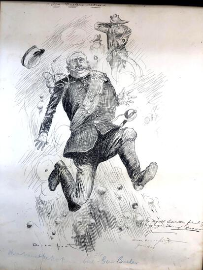 """Homer Davenport (American 1867-1912) """"Gen. Buelers Retreat"""" Date June 1904, Pen and Ink Political"""