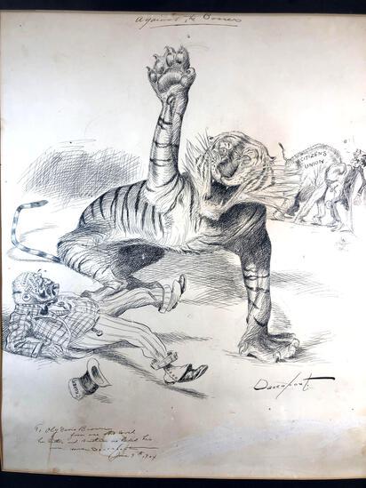 "Homer Davenport (American 1867-1912) ""Against the Bosses"" Dated June 9th, 1904, Pen & Ink Political"