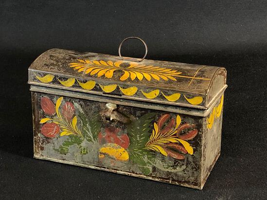 "1830's Country Americana Tin Document Trunk 5.5"" T x 9.5"" L x 4"" D"