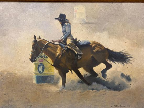 """Peter Darro (American 1917-1977) """"Barrel Racer"""", Oil On Canvas, Signed Lower Right""""S.A.A."""""""