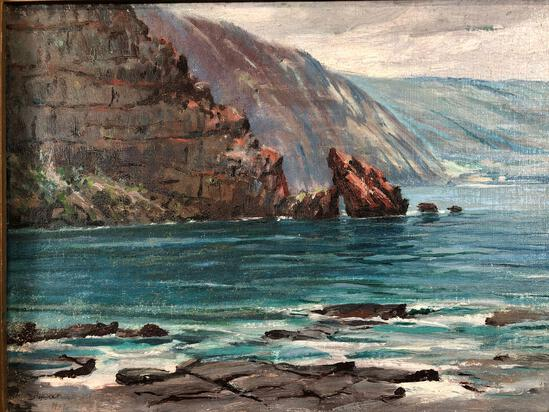 David Howard Hitchcock (American 1861-1943) Kealakekua Bay, South Kona, HI., Oil On Board