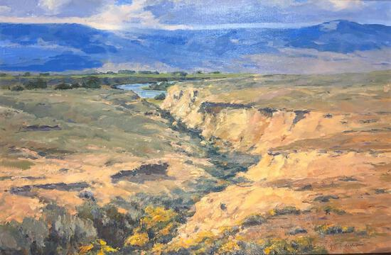 """Bob Barlow (American, 1934 -) """"Along The Clarks Fork River"""", Oil On Canvas, Signed Lower Right"""